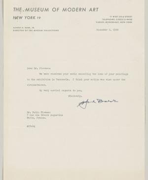 Alfred H. Barr Jr's letter to Pablo Picasso, dated 3 December 1948