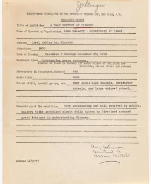 Publicity report for the exhibition Studies for Guernica by the Lowe Gallery, Miami University, addressed to the Travelling Exhibitions Department at the Museum of Modern Art, New York