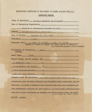 Publicity report for the exhibition Studies for Guernica by the Museum of Cranbrook, New Jersey, addressed to the Travelling Exhibitions Department at the Museum of Modern Art, New York