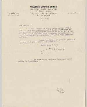 A letter from Daniel-Henry Kahnweiler to Pablo Picasso, dated 17 December 1952