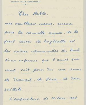 Eugenio Reale's letter to Pablo Picasso, dated 1 January 1954