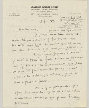 Daniel-Henry Kahnweiler's letter to Pablo Picasso, dated 9 June 1953