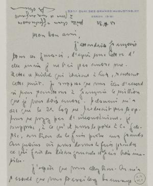 Daniel-Henry Kahnweiler's letter to Pablo Picasso, dated 22 July 1953