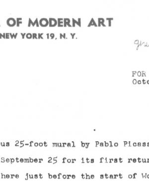 Press release from the Museum of Modern Art, New York, on  Guernica's journey to Europe