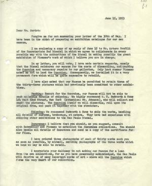 Alfred H. Barr Jr.'s letter to Maurice Jardot, dated 15 June 1953