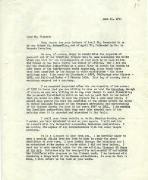 Alfred H. Barr Jr.'s letter to Pablo Picasso, dated 15 June 1953