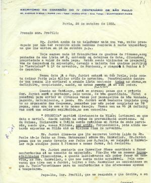 Maria Oliva Fraga's letter to Arturo Profili, dated 28 October 1953