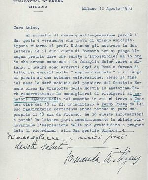 Fernanda Wittgens' letter to Willem Sandberg, dated 12 August 1953