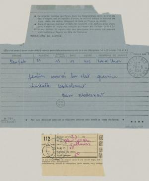 Alfred H. Barr Jr.'s telegram to Pablo Picasso, dated 20 May 1954