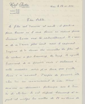 Eugenio Reale's letter to Pablo Picasso, dated 29 March 1954