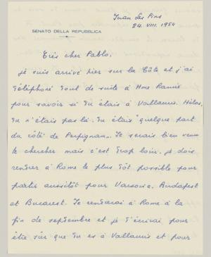 Eugenio Reale's letter to Pablo Picasso, dated 24 August 1954