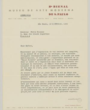 Francisco Matarazzo Sobrinho's letter to Pablo Picasso, dated 4 February 1954
