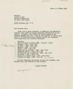 Pablo Picasso's letter to Alfred H. Barr Jr., dated 9 February 1955