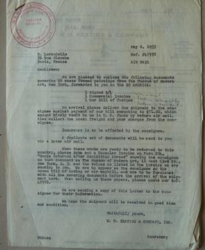 A letter from W.R. Keating & Company International to R. Lerondelle