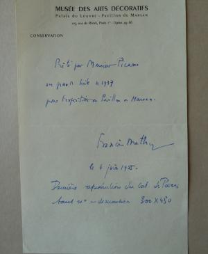 A note on the loan of Guernica, indicating its measurements