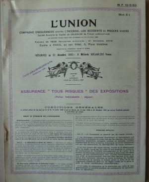 The insurance contract and list of prices for the works insured and sent to the Musée des Arts Décoratifs, Paris