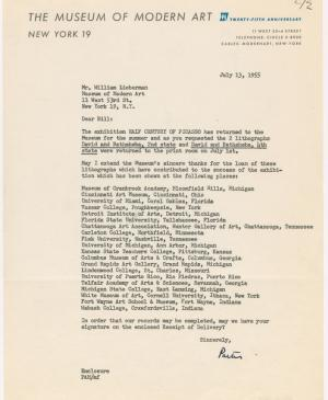 Carta interna del Museum of Modern Art de Nueva York a William S. Lieberman
