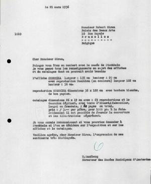 Willem Sandberg's letter to Robert Giron, dated 21 March 1956
