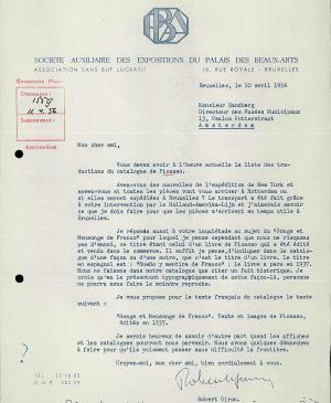 Robert Giron's letter to Willem Sandberg, dated 10 April 1956