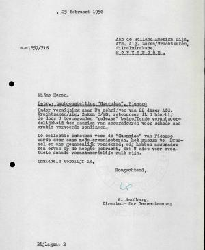 Willem Sandberg's letter to  Holland-Amerika Lijn, dated 25 February 1956