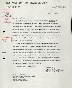 Bernard Karpel's letter to Willem Sandberg, dated 12 March 1956