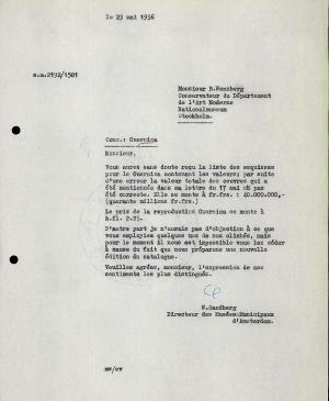 Willem Sandberg's letter to Bo Wennberg, dated 23 May 1956