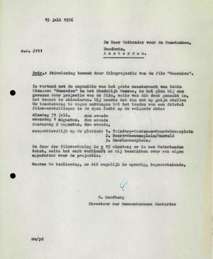 Willem Sandberg's letter to Amsterdam City Council, dated 19 July 1956