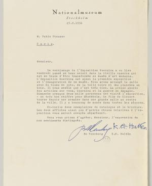 A letter from Bo Wennberg and K. G. Hulten to Pablo Picasso