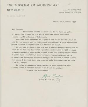 Alfred H. Barr Jr.'s letter to Pablo Picasso, dated 9 July 1956
