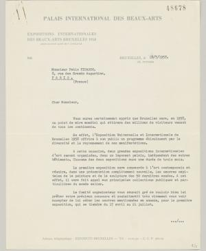 A letter from Émile Langui to Pablo Picasso, 19 July 1957