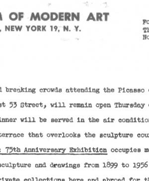 Picasso exhibition - longer Museum hours to accommodate crowds