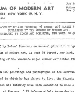 A press release on the publication of Portrait of Picasso, by Roland Penrose