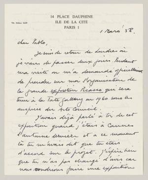 Roland Penrose's letter to Pablo Picasso, dated 1 March 1958