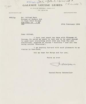 Daniel-Henry Kahnweiler's letter to Alfred H. Barr Jr., dated 27 February 1958