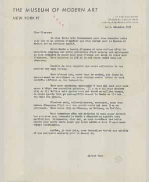 Alfred H. Barr Jr.'s letter Pablo Picasso, dated 31 December 1959