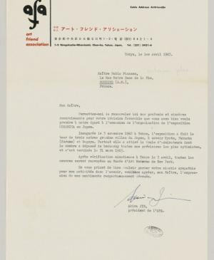 Akira Jin's letter to Pablo Picasso, dated 1 April 1963