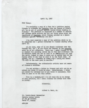 Alfred H. Barr Jr.'s letter to Daniel-Henry Kahnweiler, New York, April 14, 1967