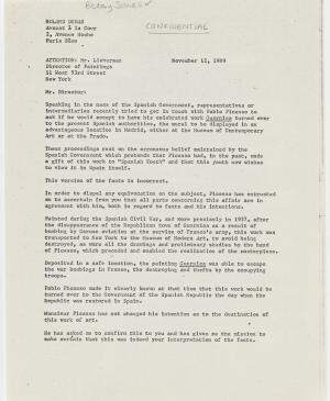 Carta de Roland Dumas a William S. Lieberman del 12 de noviembre de 1969