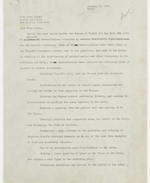A letter from the Operating Committee of the Museum of Modern Art, New York, to Joan Snyder