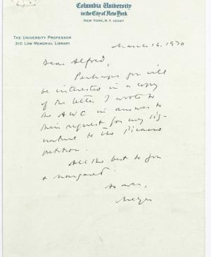 A letter from Meyer Schapiro to Alfred H. Barr Jr.