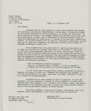 Dominique Bozo's letter to Josep Lluís Sert, dated 3 November 1980