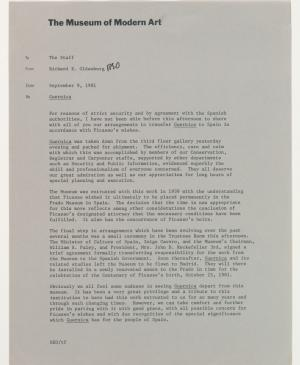 An internal letter from Richard E. Oldenburg to staff at the Museum of Modern Art, New York