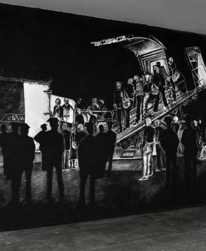 The return of Guernica to Spain, 2012. Charcoal drawing on wall. 350x800 cm.Exhibition Kill lies all, Newman Popiashvili Gallery, New York.