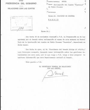 Letters from the secretary-general of Parliament Relations to Pío Cabanillas