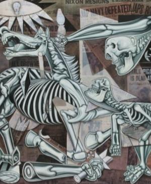 X-Ray Guernica, mural in the Piazza Giustiniani, Rome