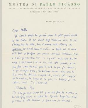 Claude Roy's letter to Pablo Picasso, dated November 1953