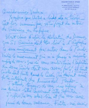 Letter from Douglas Cooper to Evelio Verdera