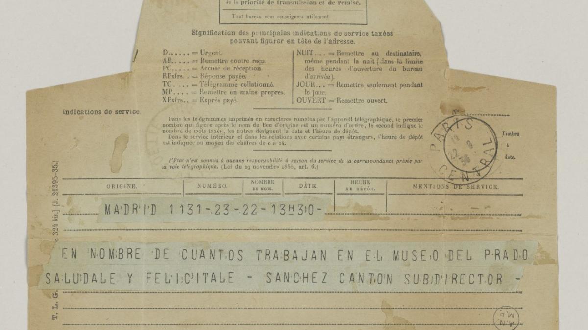 Telegrama de Francisco Sánchez Cantón a Pablo Picasso