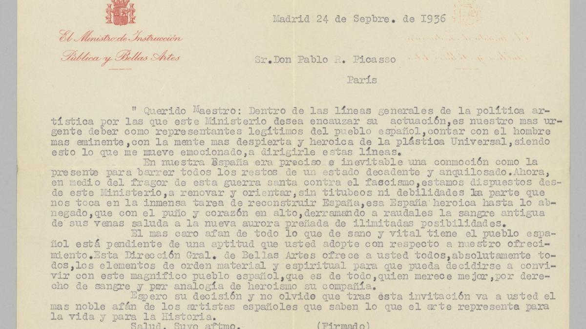 Josep Renau's letter to Pablo Picasso