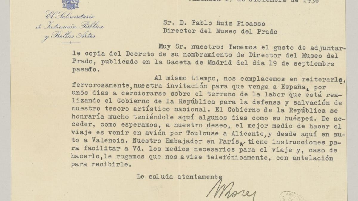 Carta de Antonio Rodríguez Morey, Manuel Azaña y Jesús Hernández Tomás a Pablo Picasso